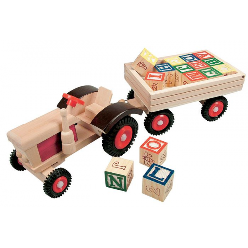 521a0b356949 holzSpezi - PRIKKER » Traktor m. ABC Anhänger BINO 82077 Tracki Bobo ...