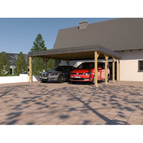 holzspezi prikker carport walmdach sauerland viii 600 x 600cm mit schieferblende lo34183572. Black Bedroom Furniture Sets. Home Design Ideas